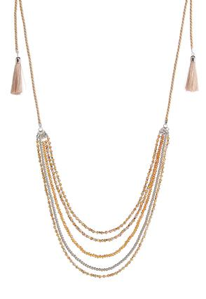 Layered Bead Tassel Necklace | Tuggl