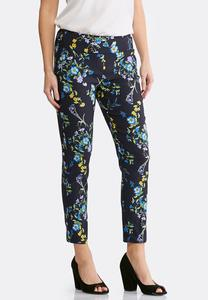 Navy Floral Pull-On Ankle Pants