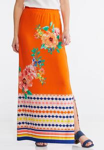 Plus Size Tropical Mixed Print Maxi Skirt