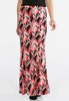 Plus Size Pink Wave Mermaid Maxi Skirt