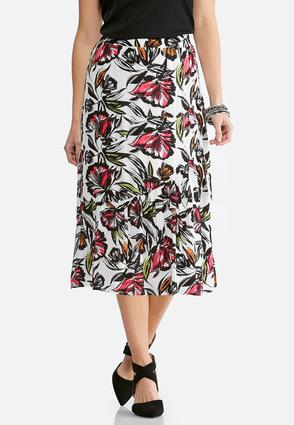 Plus Size Gauze Verde Blooms Midi Skirt