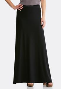 Plus Size Black Stretch Maxi Skirt