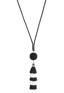 Black And White Tasseled Cord Necklace
