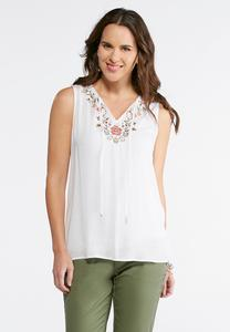 Floral Embroidered Tie Neck Tank