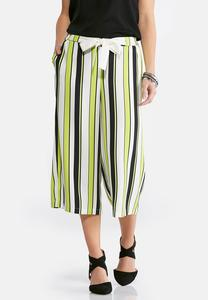 Cropped Lime Striped Palazzo Pants