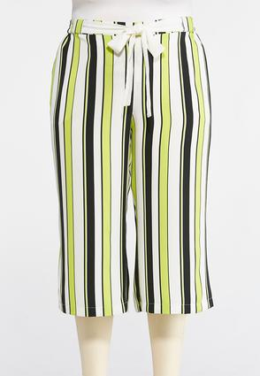 Plus Size Cropped Lime Striped Palazzo Pants