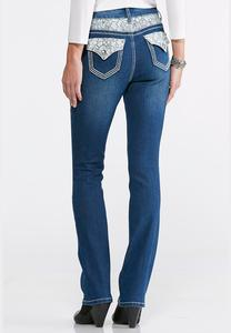 Lace Embellished Bootcut Jeans-Petite