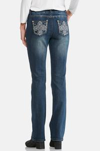 Two-Toned Cross Embelllished Jeans-Petite