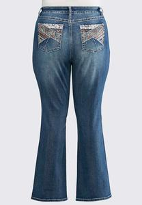 Coral Lace Embellished Jeans- Plus