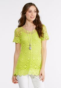 Crochet Woven Top-Plus