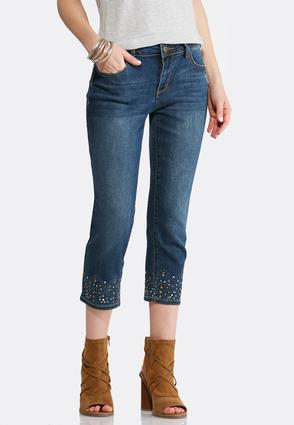 Cropped Decorated Hem Jeans