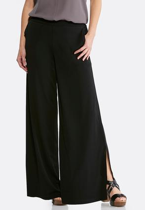 Petite Black Side Slit Palazzo Pants at Cato in Brooklyn, NY | Tuggl