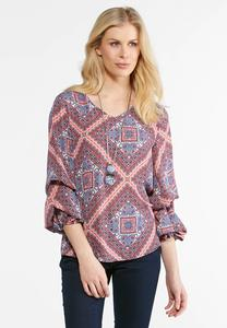 Balloon Sleeve Diamond Print Top