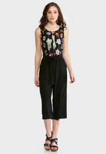 Plus Cropped Floral Embroidered Jumpsuit