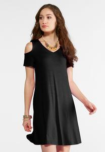 Solid Cold Shoulder Swing Dress