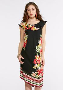 Plus Size Flounced Tropical Floral Dress