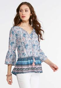 Plus Size Tasseled Blue Melon Poet Top