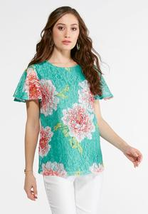 Plus Size Turquoise Floral Lace Top