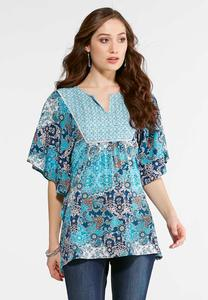 Plus Size Mixed Blue Poncho Top