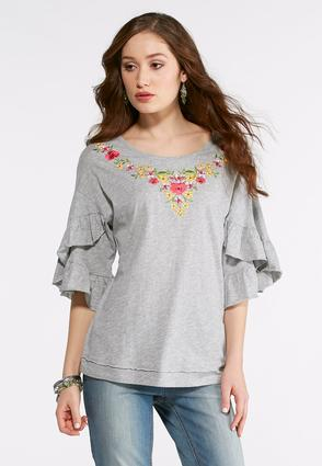 Plus Size Gray Ruffled Tulip Sleeve Top
