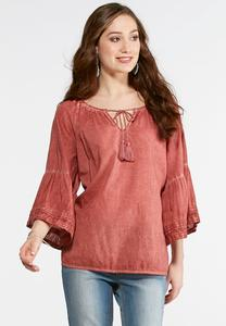 Plus Size Washed Melon Bell Sleeve Poet Top