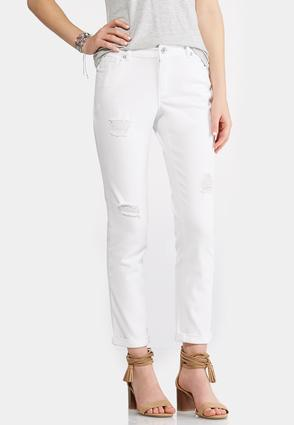 Distressed White Ankle Jeans | Tuggl