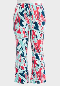 Plus Petite Bold Floral Flared Pants