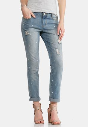 Distressed Pearl Embellished Jeans | Tuggl