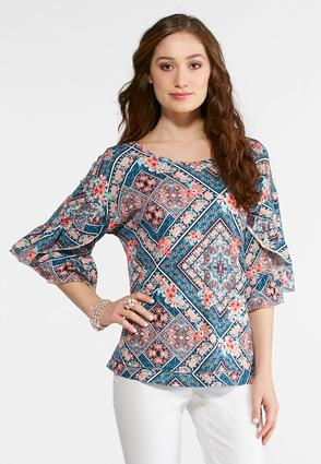 Plus Size Floral Scarf Print Top