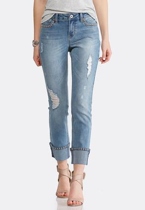 Distressed Floral Stitch Jeans | Tuggl