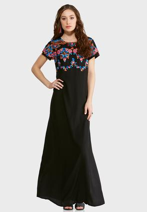 Petite Floral Embroidered Maxi Dress