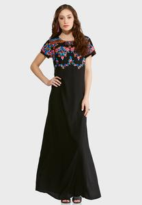 Plus Size Floral Embroidered Maxi Dress