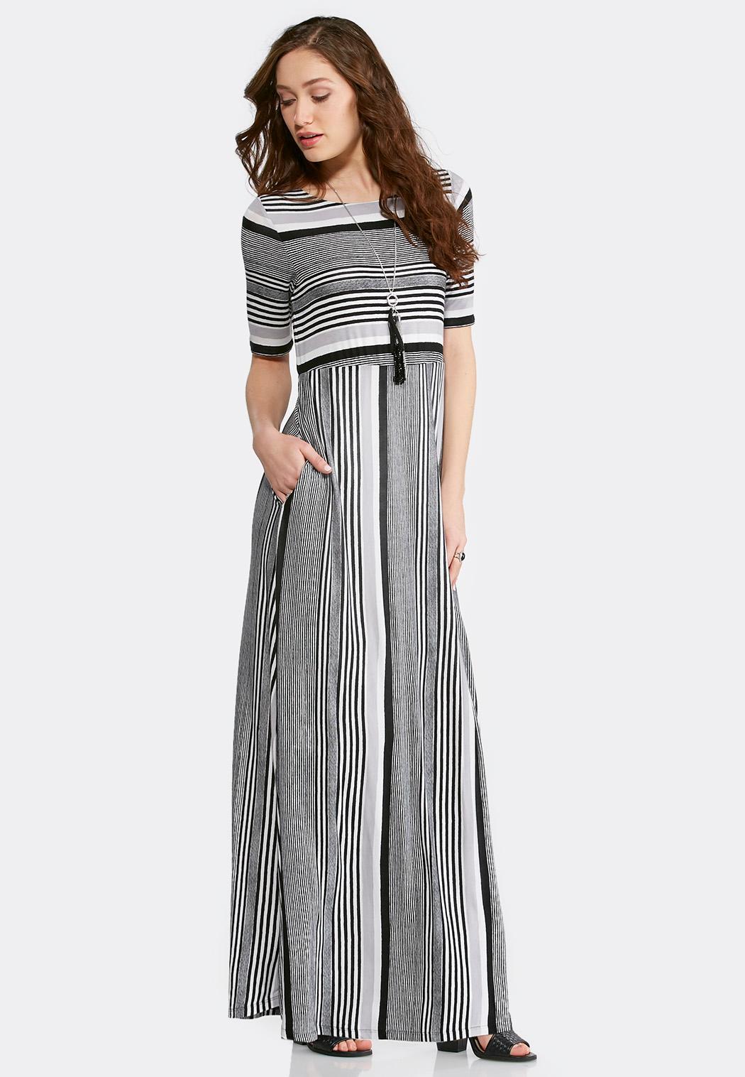 Plus Size Black And White Stripe Maxi Dress Maxi Cato Fashions
