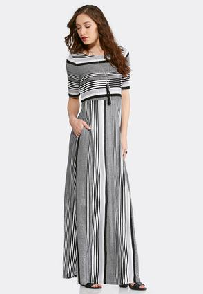 Plus Size Black And White Stripe Maxi Dress at Cato in Brooklyn, NY | Tuggl