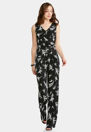 Plus Size Black And White Printed Jumpsuit | Tuggl