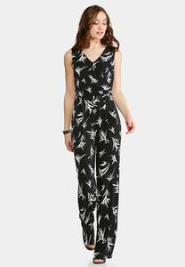 Plus Size Black And White Printed Jumpsuit