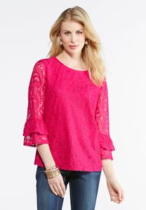 Plus Size Lace Overlay Flutter Sleeve Top
