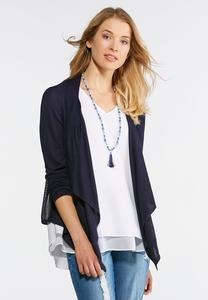 Embroidered Back Waterfall Cardigan