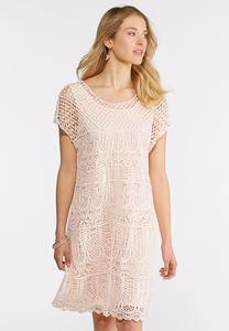 Crochet Overlay Sheath Dress