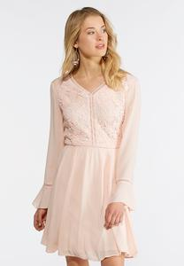 Lace Gauze Fit and Flare Dress
