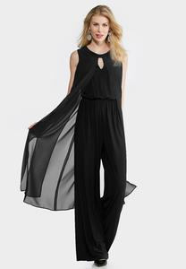 Sheer Overlay Wide Leg Jumpsuit