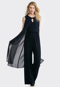 Plus Size Sheer Overlay Wide Leg Jumpsuit