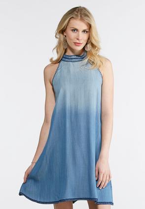 Plus Size Mock Neck Chambray Swing Dress | Tuggl