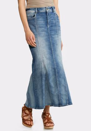 Plus Size Denim Mermaid Maxi Skirt