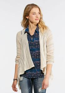 Plus Size Natural Waterfall Cardigan