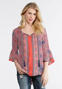 Aztec Twin Print Poet Top