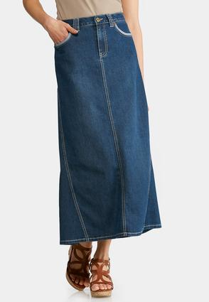 Reverse Denim Maxi Skirt