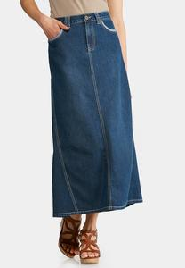 Plus Size Reverse Denim Maxi Skirt