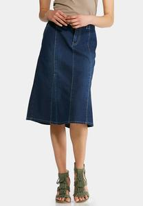 Plus Size Flounced Panel Denim Skirt