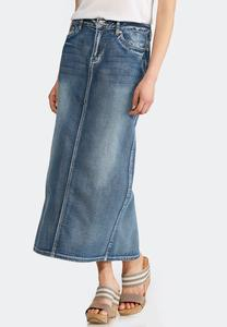 Plus Size Geo Stitch Denim Maxi Skirt